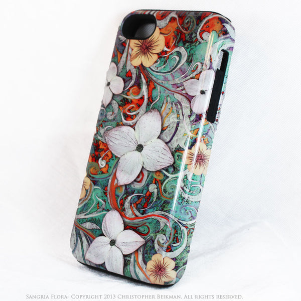 Dogwood Floral iPhone 5c TOUGH Case - Sangria Flora - Turquoise and Orange Floral Dual Layer iPhone Case - iPhone 5c TOUGH Case - 2