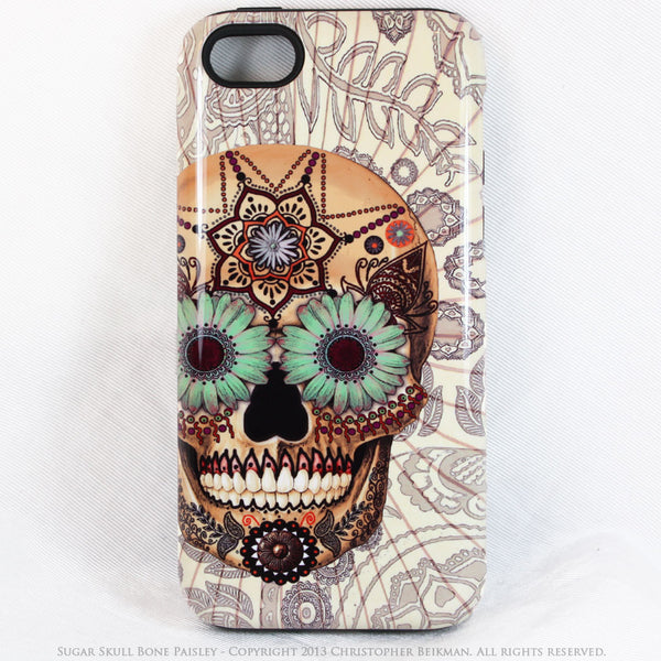 Skull iPhone 5c TOUGH Case - Sugar Skull Bone Paisley - Day of the Dead dual layer iPhone case - Fusion Idol Arts