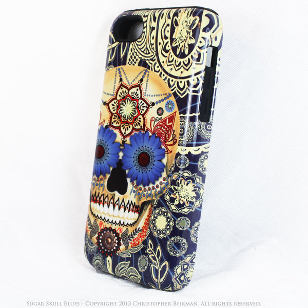 Blue Skull iPhone 5c TOUGH Case - Sugar Skull Blues - Dia De Los Muertos dual layer iPhone case - iPhone 5c TOUGH Case - Fusion Idol Arts - New Mexico Artist Christopher Beikmann