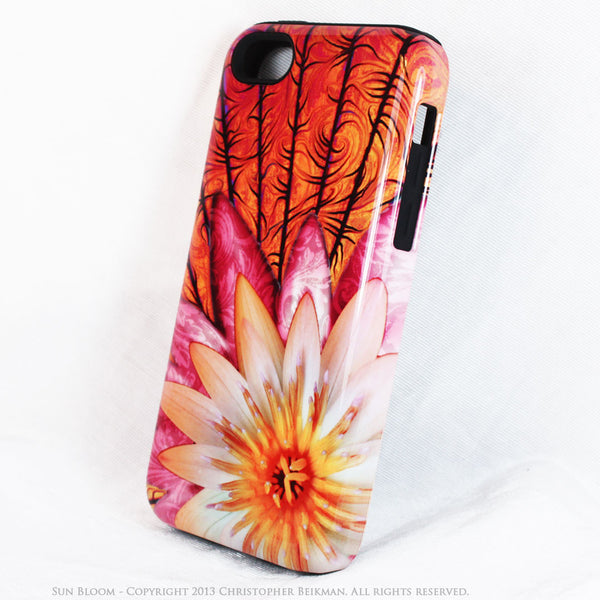 Lotus Flower iPhone 5c TOUGH Case - Sun Bloom - Orange and Pink Floral Dual Layer iPhone Case - iPhone 5c TOUGH Case - Fusion Idol Arts - New Mexico Artist Christopher Beikmann