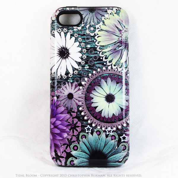 Purple and Green Floral iPhone 5c TOUGH Case - Tidal Bloom - Daisy Flower Dual Layer iPhone Case - Fusion Idol Arts