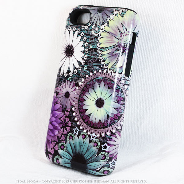 Purple and Green Floral iPhone 5c TOUGH Case - Tidal Bloom - Daisy Flower Dual Layer iPhone Case - iPhone 5c TOUGH Case - 2