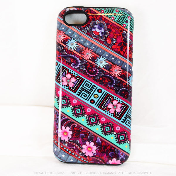 Aztec Floral iPhone 5c TOUGH Case - Tribal Tropic Rosa - Tropical Pink Floral Art - Artisan Case for iPhone 5C - iPhone 5c TOUGH Case - Fusion Idol Arts - New Mexico Artist Christopher Beikmann
