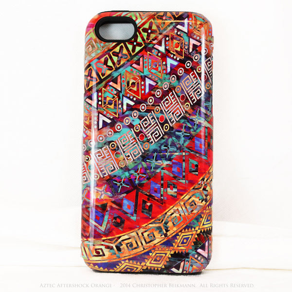 "Orange Tribal iPhone 5c TOUGH Case - Tribal Abstract Art - ""Aztec Aftershock Orange"" - Dual Layer Case by Da Vinci Case - iPhone 5c TOUGH Case - 1"