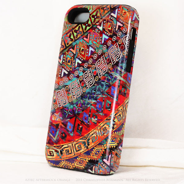 "Orange Tribal iPhone 5c TOUGH Case - Tribal Abstract Art - ""Aztec Aftershock Orange"" - Dual Layer Case by Da Vinci Case - iPhone 5c TOUGH Case - 2"