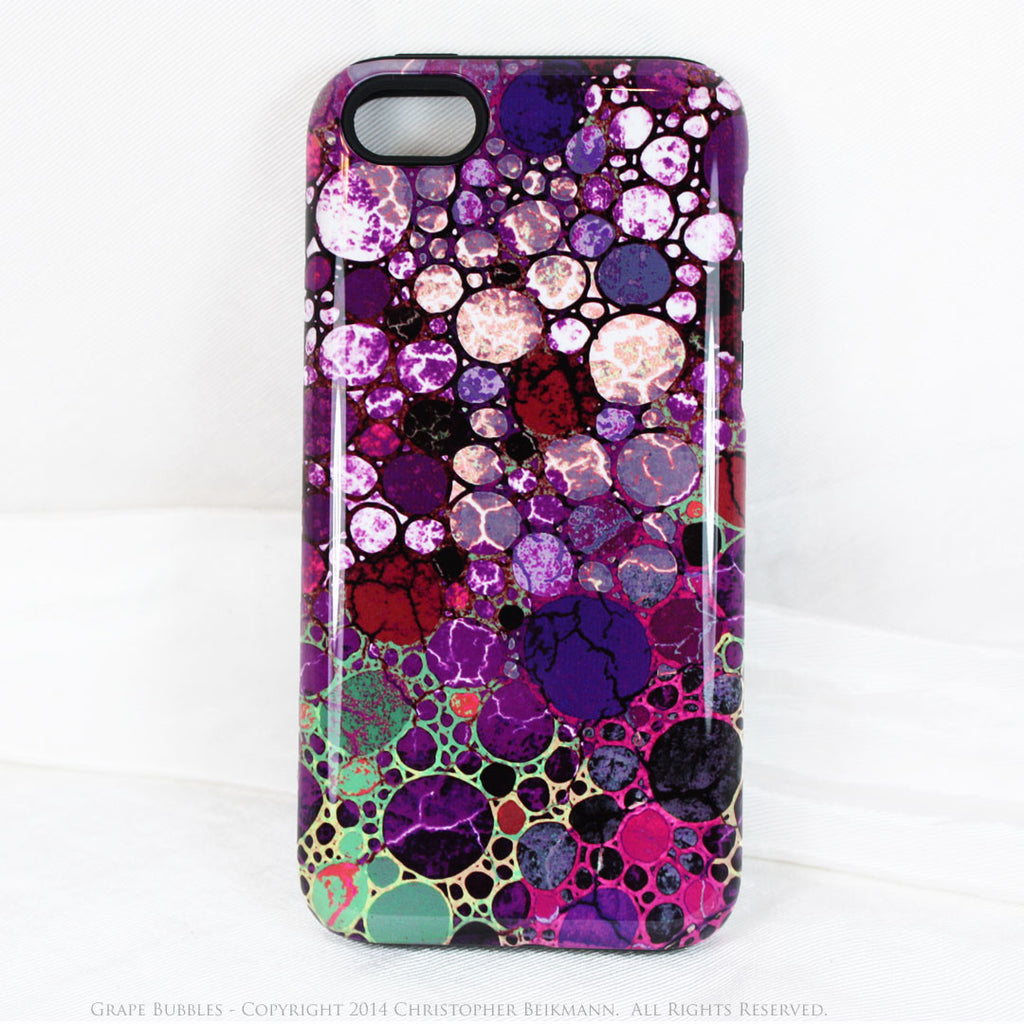 Premium Purple Abstract iPhone 5c TOUGH Case - Grape Bubbles - Dual Layer Case by Da Vinci Case - Fusion Idol Arts