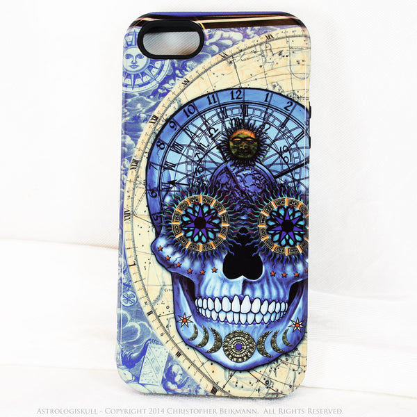 Blue Steampunk Skull iPhone 5s SE Case - Astrologiskull - Astrology skull case - Artistic Case For iPhone 5s SE - iPhone 5 5s TOUGH Case - Fusion Idol Arts - New Mexico Artist Christopher Beikmann