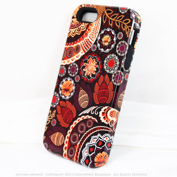 Paisley iPhone 5s SE TOUGH Case - Autumn Mehndi - Orange, Pink, Purple and Brown Paisley Floral - Unique iPhone 5s SE Case - iPhone 5 5s TOUGH Case - Fusion Idol Arts - New Mexico Artist Christopher Beikmann