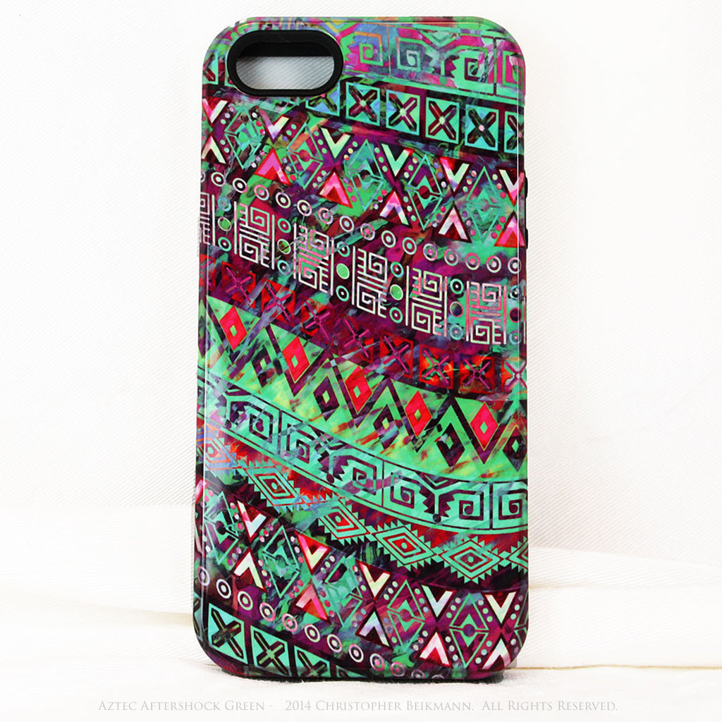"Green Tribal iPhone 5s SE TOUGH Case - Tribal Abstract Art - ""Aztec Aftershock Green"" - Dual Layer Case by Da Vinci Case - iPhone 5 5s TOUGH Case - Fusion Idol Arts - New Mexico Artist Christopher Beikmann"