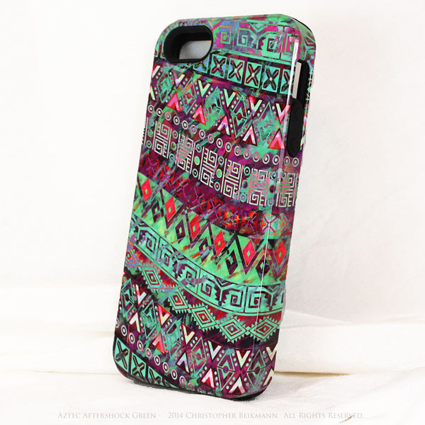 "Green Tribal iPhone 5s SE TOUGH Case - Tribal Abstract Art - ""Aztec Aftershock Green"" - Dual Layer Case by Da Vinci Case - Fusion Idol Arts"