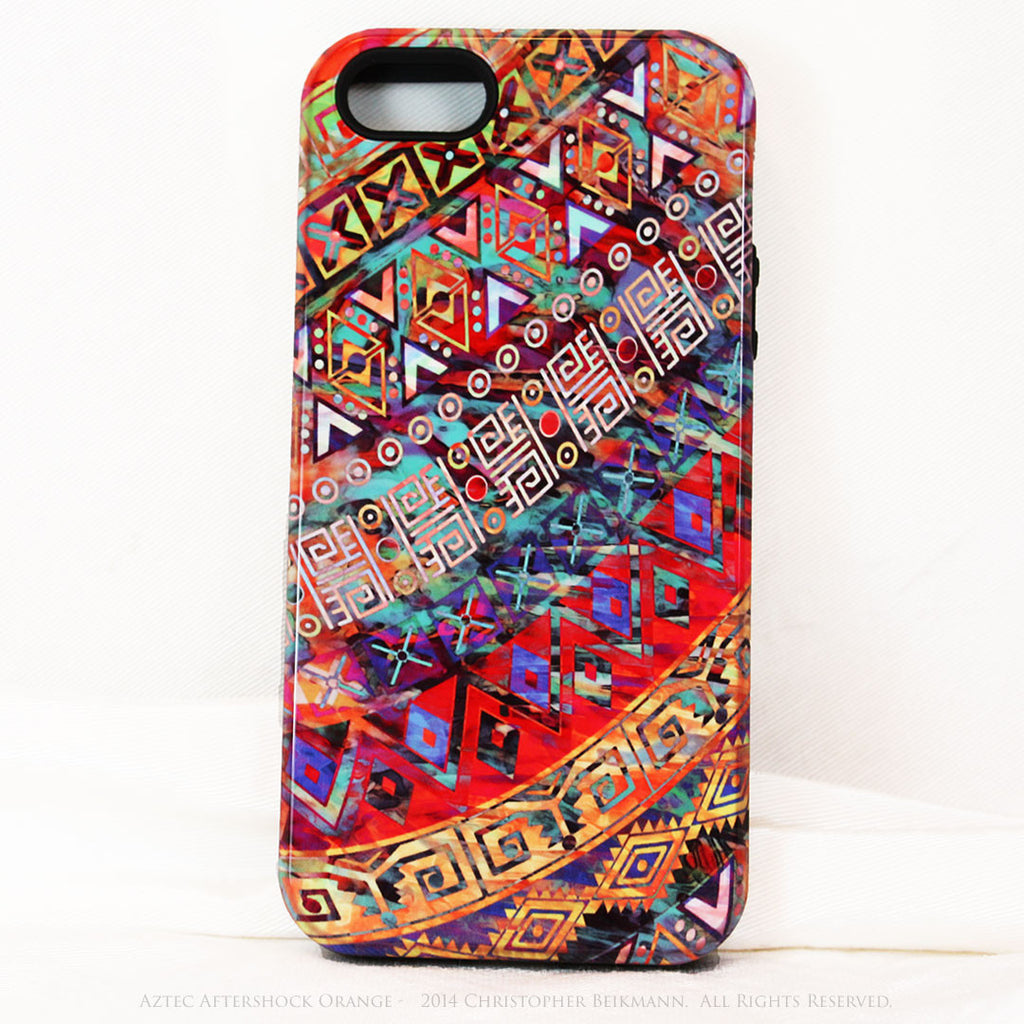 "Orange Tribal iPhone 5s SE TOUGH Case - Tribal Abstract Art - ""Aztec Aftershock Orange"" - Dual Layer Case by Da Vinci Case - Fusion Idol Arts"