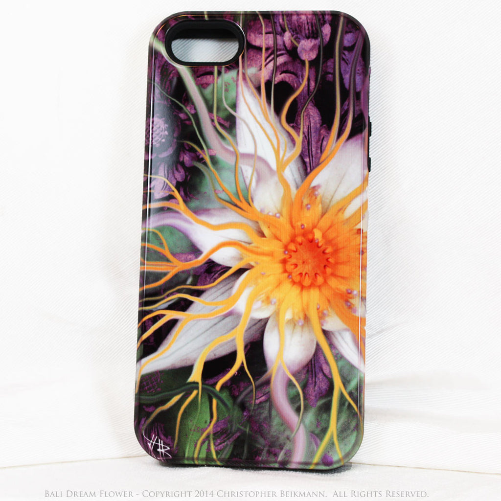 Artistic iPhone 5s SE TOUGH Case - Bali Dream Flower - Lotus Flower Art -  Artisan Case for iPhone 5s SE - iPhone 5 5s TOUGH Case - Fusion Idol Arts - New Mexico Artist Christopher Beikmann