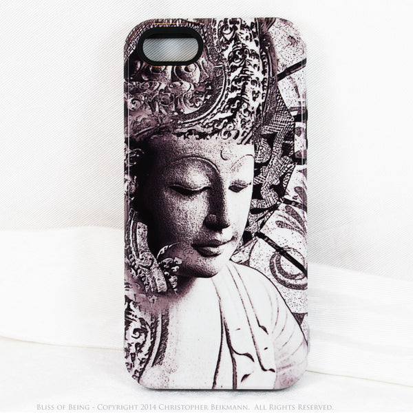 "Black and white Buddha iPhone 5c TOUGH Case - Unique Buddhist Art ""Bliss of Being"" Zen Meditation iPhone 5c Case - iPhone 5c TOUGH Case - Fusion Idol Arts - New Mexico Artist Christopher Beikmann"