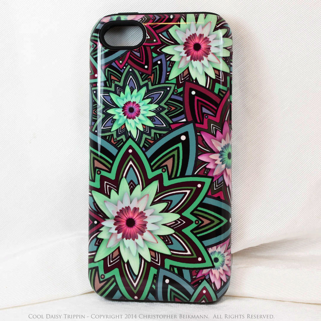 Purple and Green Floral iPhone 5s SE TOUGH Case - Cool Daisy Trippin - Geometric Daisy Flower Dual Layer iPhone Case - iPhone 5 5s TOUGH Case - Fusion Idol Arts - New Mexico Artist Christopher Beikmann