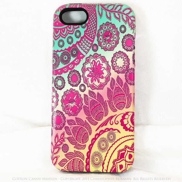 Pastel Paisley iPhone 5s SE TOUGH Case - Cotton Candy Mehndi - Yellow, Pink and Green Floral iPhone 5s SE Case - iPhone 5 5s TOUGH Case - Fusion Idol Arts - New Mexico Artist Christopher Beikmann