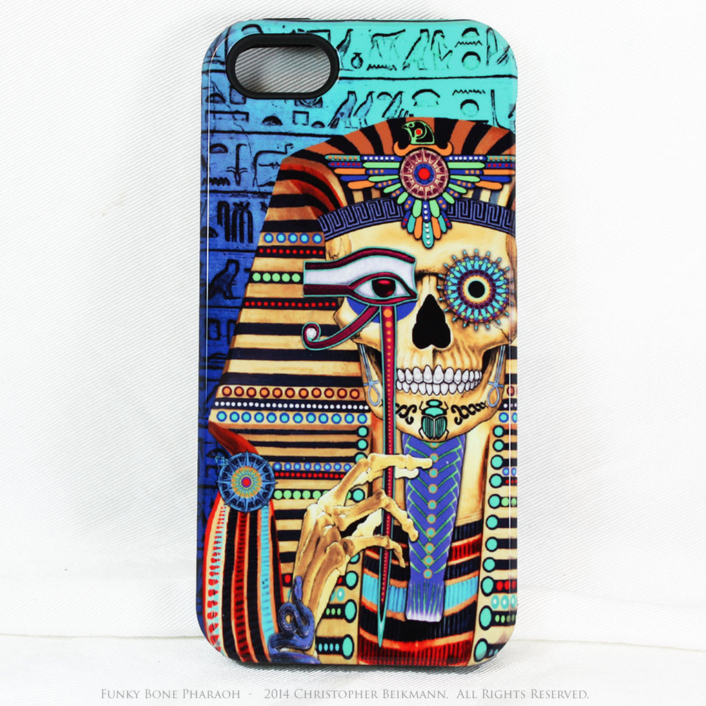 Egyptian Skull iPhone 5s SE Case - Funky Bone Pharaoh - Egypt Inspired Skull Case - Artistic Case For iPhone 5s SE - iPhone 5 5s TOUGH Case - Fusion Idol Arts - New Mexico Artist Christopher Beikmann