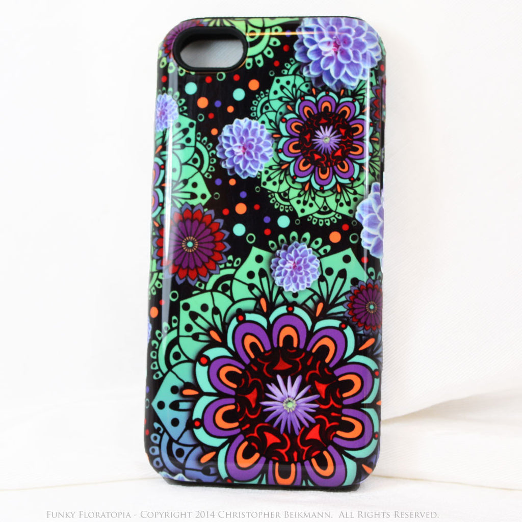 Green & Purple Floral iPhone 5s SE TOUGH Case - Funky Floratopia - Dual Layer Paisley iPhone 5s SE Case - iPhone 5 5s TOUGH Case - Fusion Idol Arts - New Mexico Artist Christopher Beikmann