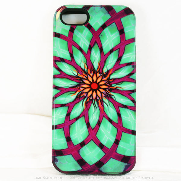 Lime Green and Purple Geometric iPhone 5s SE TOUGH Case - Green Kalotuscope - Abstract Lotus Flower Dual Layer iPhone Case - iPhone 5 TOUGH Case - 1