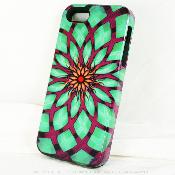 Lime Green and Purple Geometric iPhone 5s SE TOUGH Case - Green Kalotuscope - Abstract Lotus Flower Dual Layer iPhone Case - iPhone 5 TOUGH Case - 2