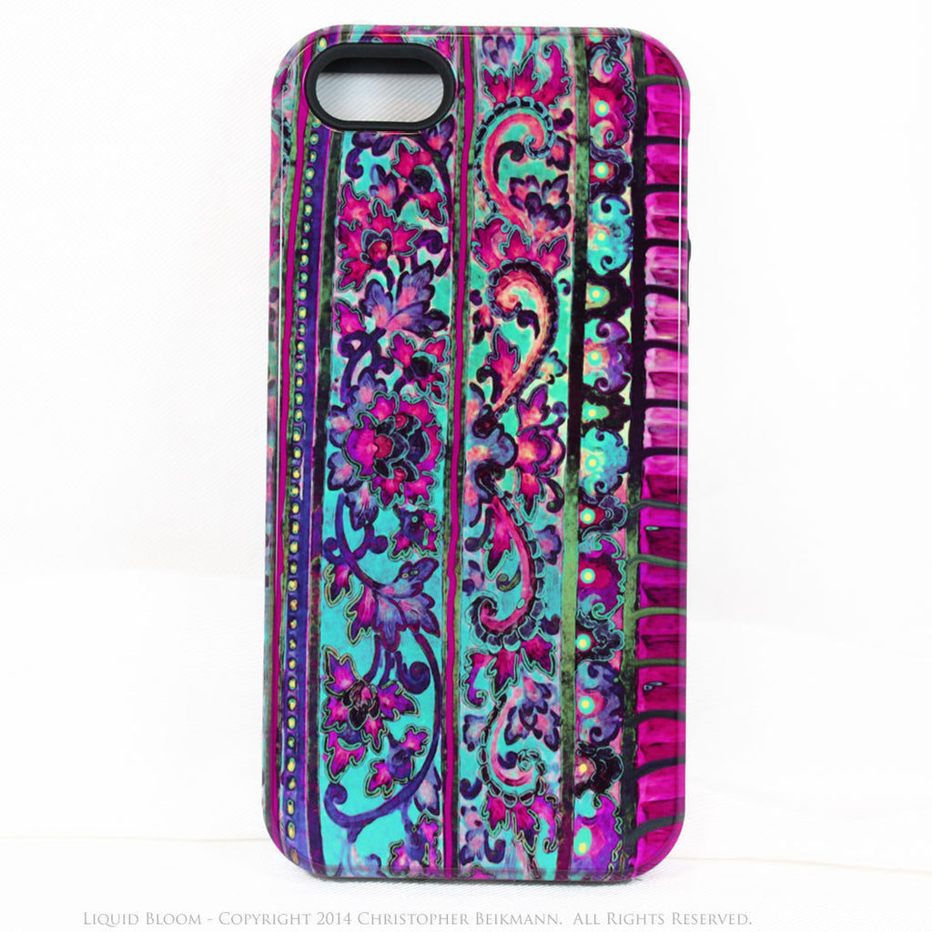 Floral iPhone 5s SE TOUGH Case - Malaya - Tropical Blue & Pink Floral Art - Artisan Case for iPhone 5s SE - iPhone 5 5s TOUGH Case - Fusion Idol Arts - New Mexico Artist Christopher Beikmann