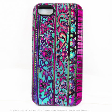 Floral iPhone 5c TOUGH Case - Malaya - Tropical Blue & Pink Floral Art - Artisan Case for iPhone 5c - Fusion Idol Arts