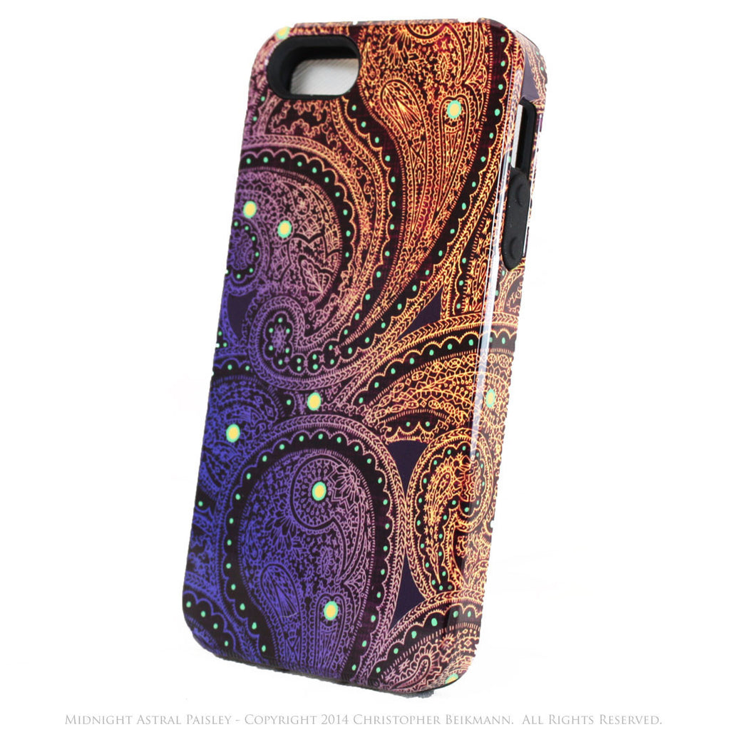 Unique iPhone 5s SE TOUGH Case - Midnight Astral Paisley - Purple, Blue and Gold Tone Paisley iPhone 5s SE Case - iPhone 5 5s TOUGH Case - Fusion Idol Arts - New Mexico Artist Christopher Beikmann