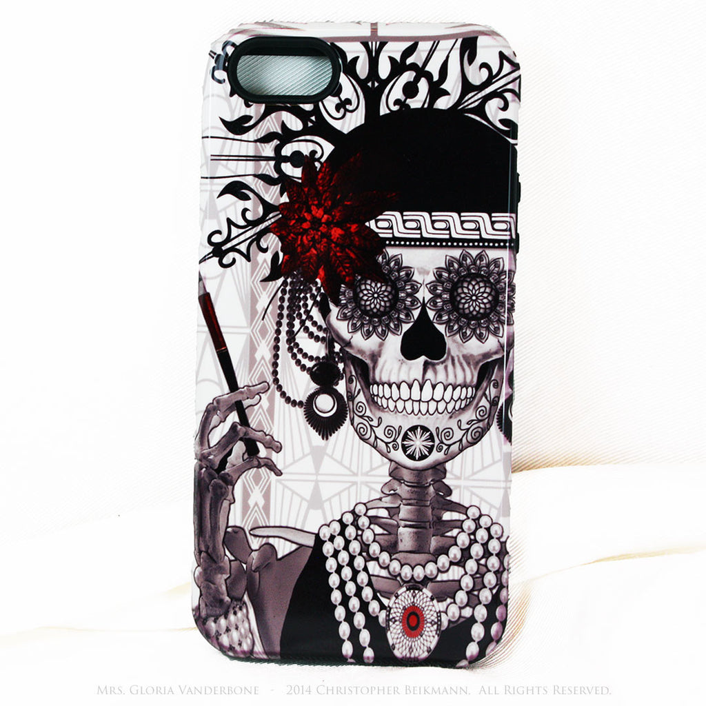 Flapper Girl Skull iPhone 5s SE TOUGH Case - 1920s Art Deco Sugar Skull iPhone Case - Day of the Dead - Artistic Case For iPhone 5s SE - Fusion Idol Arts