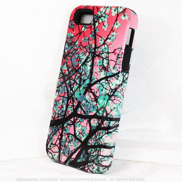 Tree Blossom iPhone 5s SE TOUGH Case - Aqua Blooms - Pink and Blue Spring Floral Art - Artistic Case for iPhone 5s SE - iPhone 5 TOUGH Case - 2