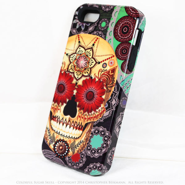 iPhone 5s SE TOUGH Case -Colorful - Sugar Skull Paisley Garden - Dia De Los Muertos - Artistic Case For iPhone 5s SE - iPhone 5 5s TOUGH Case - Fusion Idol Arts - New Mexico Artist Christopher Beikmann