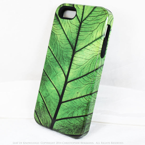 "Green Leaf iPhone 5s SE TOUGH Case - Unique iPhone 5s Case with Zen Artwork ""Leaf of Knowledge"" by Da Vinci Case USA - iPhone 5 5s TOUGH Case - Fusion Idol Arts - New Mexico Artist Christopher Beikmann"