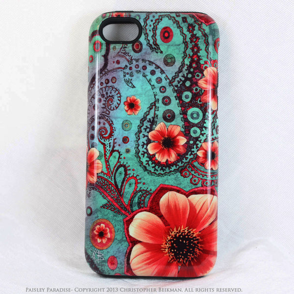 Paisley iPhone 5s SE TOUGH Case - Paisley Paradise - Teal Green and Orange Paisley Floral Art - Unique Case For iPhone 5s SE - Fusion Idol Arts