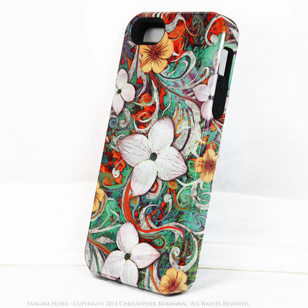 Artistic iPhone 5s SE TOUGH Case - Sangria Flora - Dogwood Flower Floral Art - Artisan Case for iPhone 5s SE - iPhone 5 TOUGH Case - 2