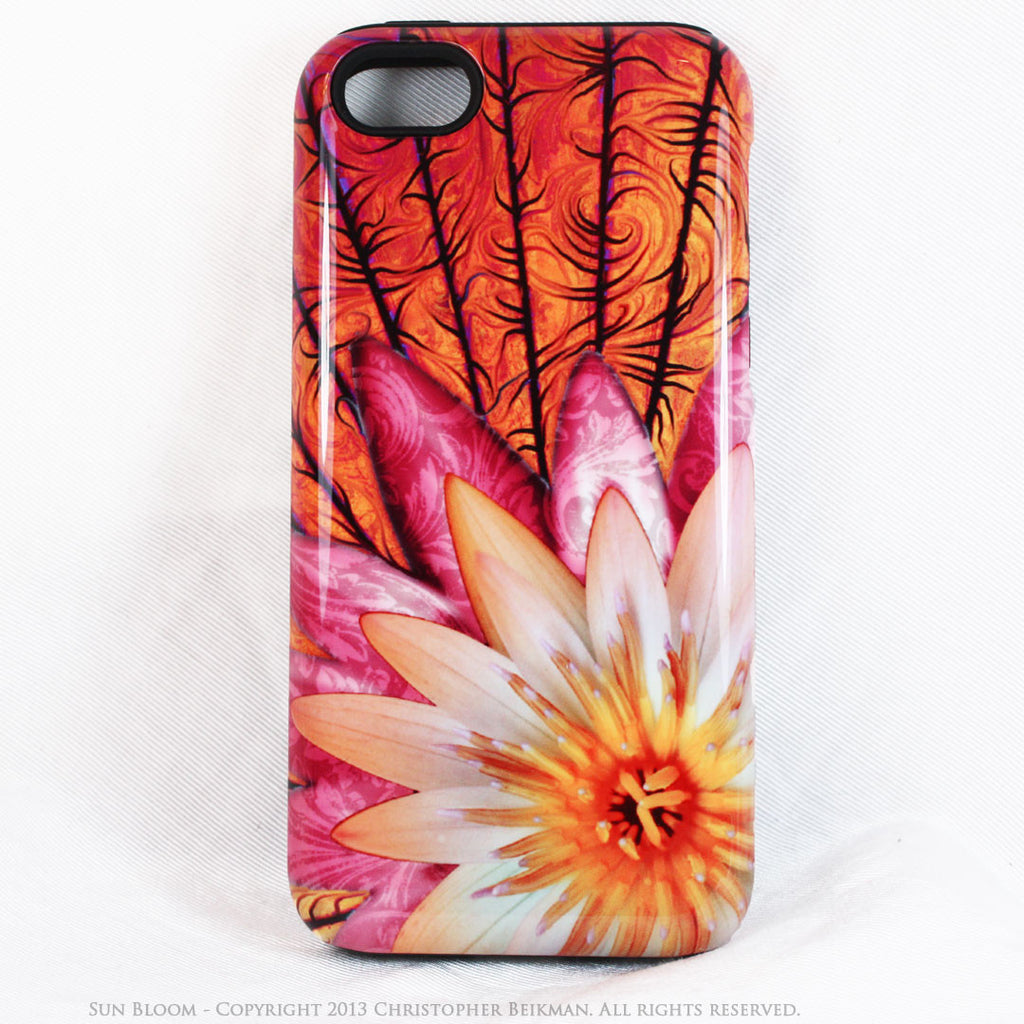 Artistic iPhone 5s SE TOUGH Case - Sun Bloom - Lotus Flower Art -  Orange Artisan Floral Case for iPhone 5s SE - iPhone 5 TOUGH Case - 1