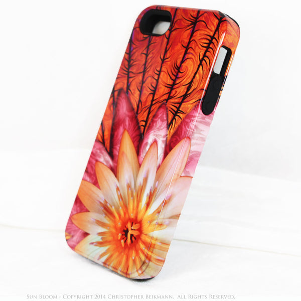 Artistic iPhone 5s SE TOUGH Case - Sun Bloom - Lotus Flower Art -  Orange Artisan Floral Case for iPhone 5s SE - iPhone 5 TOUGH Case - 2