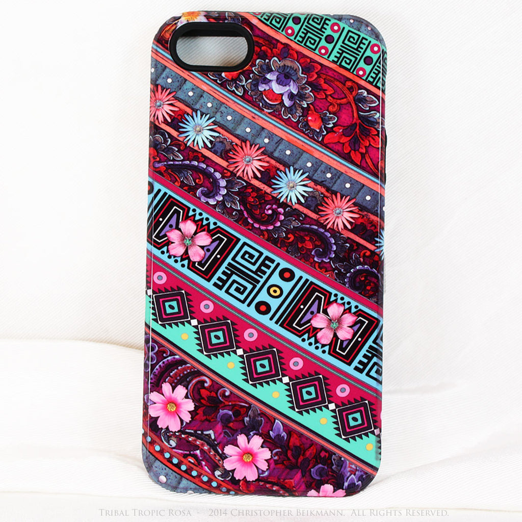 Aztec Floral iPhone 5s SE TOUGH Case - Tribal Tropic Rosa - Tropical Pink Floral Art - Artisan Case for iPhone 5s SE - Fusion Idol Arts