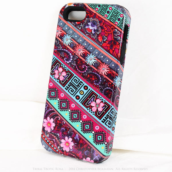 Aztec Floral iPhone 5s SE TOUGH Case - Tribal Tropic Rosa - Tropical Pink Floral Art - Artisan Case for iPhone 5s SE - iPhone 5 TOUGH Case - 2