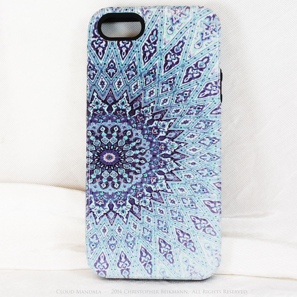 Cloud Mandala iPhone 5s SE case - Blue Zen Buddhist Abstract Art iPhone 5s SE Tough Case - iPhone 5 5s TOUGH Case - Fusion Idol Arts - New Mexico Artist Christopher Beikmann