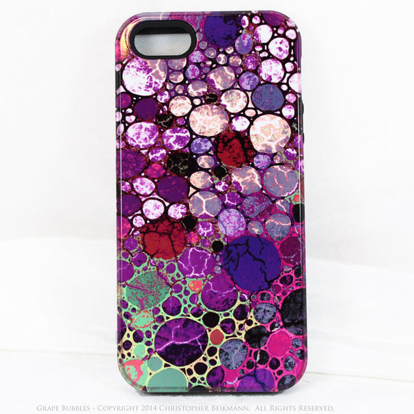 Premium Purple Abstract iPhone 5s SE TOUGH Case - Grape Bubbles - Dual Layer Case by Da Vinci Case - Fusion Idol Arts