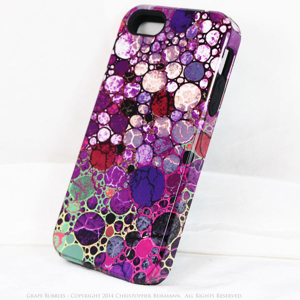 Premium Purple Abstract iPhone 5s SE TOUGH Case - Grape Bubbles - Dual Layer Case by Da Vinci Case - iPhone 5 5s TOUGH Case - Fusion Idol Arts - New Mexico Artist Christopher Beikmann