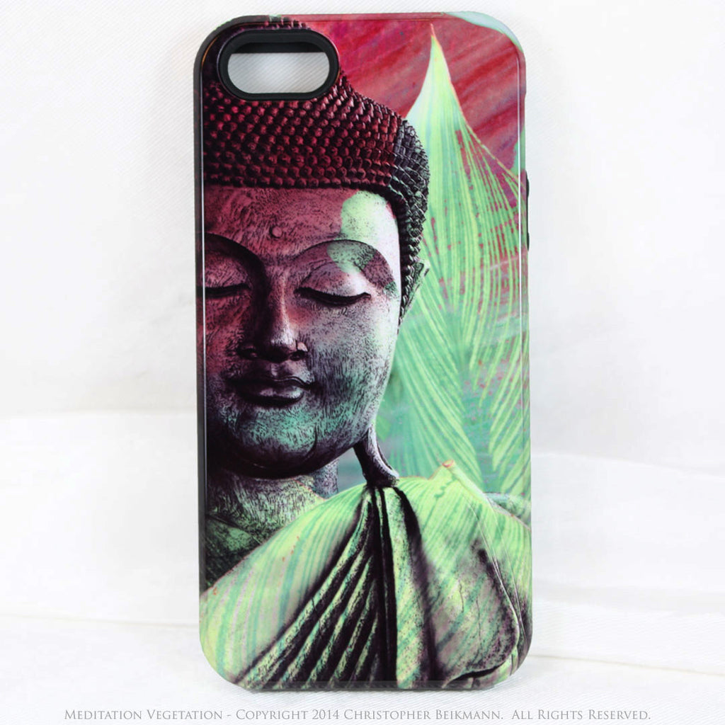 "Green Buddha iPhone 5s SE TOUGH Case - Zen Buddhist Art ""Meditation Vegetation"" - iPhone 5 5s TOUGH Case - Fusion Idol Arts - New Mexico Artist Christopher Beikmann"