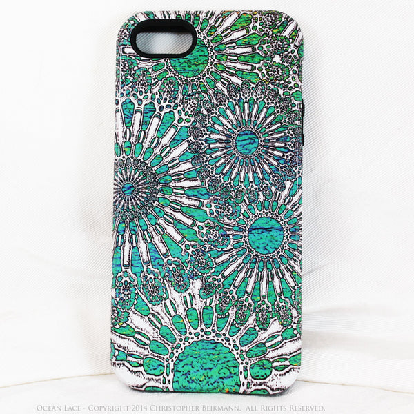 Turquoise iPhone 5s SE TOUGH Case - Unique iPhone 5s SE Case with Urchin Abstract Artwork - Ocean Lace - iPhone 5 5s TOUGH Case - Fusion Idol Arts - New Mexico Artist Christopher Beikmann
