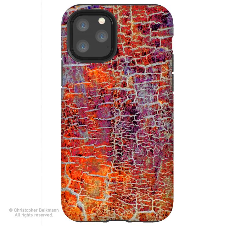 Inferno Crust - iPhone 11 / 11 Pro / 11 Pro Max Tough Case - Dual Layer Protection for Apple iPhone XI - Orange and Red Abstract Art Case - iPhone 11 Tough Case - Fusion Idol Arts - New Mexico Artist Christopher Beikmann