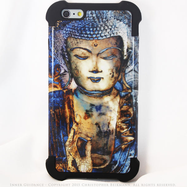 Blue Buddha iPhone 6 Plus - 6s Plus Case - Inner Guidance - iPhone 6 Plus SUPER BUMPER Case - iPhone 6 6s Plus SUPER BUMPER Case - Fusion Idol Arts - New Mexico Artist Christopher Beikmann