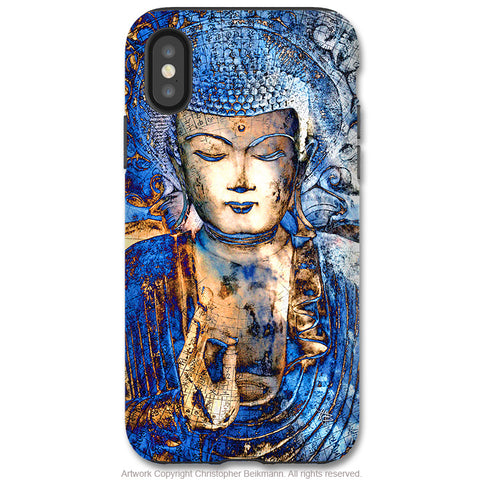 Inner Guidance Buddha - iPhone X Tough Case - Dual Layer Protection for Apple iPhone 10 - Blue Zen Buddhist Art Case - iPhone X Tough Case - Fusion Idol Arts - New Mexico Artist Christopher Beikmann