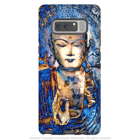 Blue Buddha Galaxy Note 8 Tough Case - Dual Layer Zen Case for Samsung Galaxy Note 8 - Inner Guidance - Galaxy Note 8 Tough Case - Fusion Idol Arts - New Mexico Artist Christopher Beikmann
