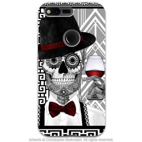 Art Deco Sugar Skull - Google Pixel Tough Case - Dual Layer Protection - Mr jd vanderbone - Google Pixel Tough Case - Fusion Idol Arts - New Mexico Artist Christopher Beikmann