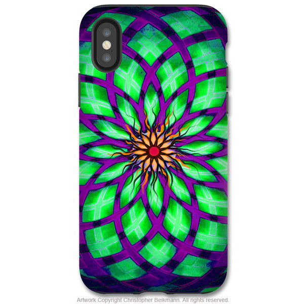 Kalotuscope - iPhone X / XS / XS Max / XR Tough Case - Dual Layer Protection for Apple iPhone 10 - Green and Purple Geometric Lotus Art Case - iPhone X Tough Case - Fusion Idol Arts - New Mexico Artist Christopher Beikmann