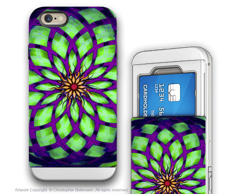 Geometric Lotus iPhone 6 6s Cardholder Case - Kalotuscope -  Green and Purple Credit Card Holder Case for iPhone 6s - iPhone 6 6s Card Holder Case - Fusion Idol Arts - New Mexico Artist Christopher Beikmann