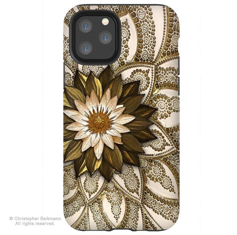 Levani Lotus - iPhone 11 / 11 Pro / 11 Pro Max Tough Case - Dual Layer Protection for Apple iPhone XI - Floral Art Case - iPhone 11 Tough Case - Fusion Idol Arts - New Mexico Artist Christopher Beikmann