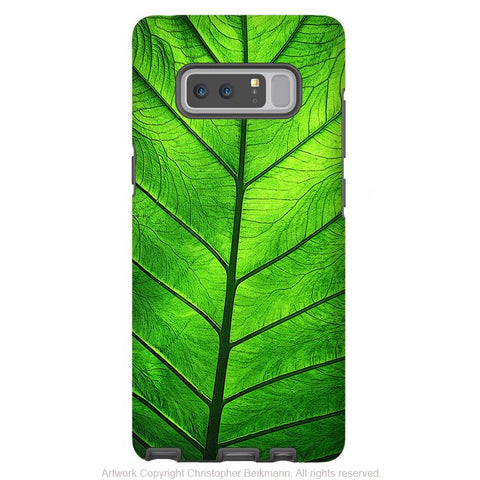 Green Leaf Galaxy Note 8 Case - Abstract Art Case for Samsung Galaxy Note 8 - Leaf of Knowledge - Galaxy Note 8 Tough Case - Fusion Idol Arts - New Mexico Artist Christopher Beikmann